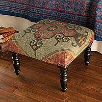 Jute blend ottoman, 'Kilim Majesty' - Wool and Jute Kilim Covered Footstool with Wood Legs