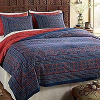 Cotton duvet cover, 'Rajasthani Remembrance' - Blue and Red Cotton print Reversible Duvet Cover