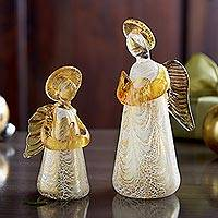 Murano glass figurine, 'Golden Angel' - Murano Art Glass Golden Angel Figurine from Italy