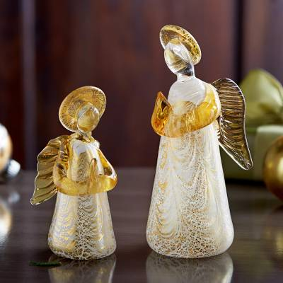 Murano glass figurine, 'Golden Angel' - Murano Golden Angels