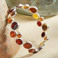 Amber bangle bracelet, 'Hues of Honey' - Baltic Amber Bangle Bracelet in Sterling Silver