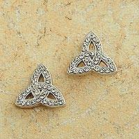Swarovski crystal button earrings, 'Eternal Trinity' - Trinity Knot Earrings with Swarovski Crystals