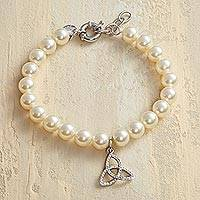 Featured review for Swarovski crystal pearl charm bracelet, Eternal Trinity