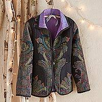 Reversible wool and silk jacket, 'Brindavan Gardens' - Brindavan Gardens Reversible Jacket