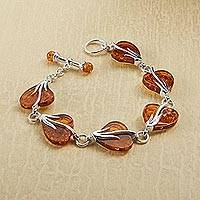 Amber link bracelet, 'Beloved One' - Baltic Amber and Sterling Silver Link Bracelet