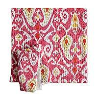 Cotton cushion covers, 'Kalinga Ikat' (pair) - Pink Kantha Stitch All Cotton Square Cushion Covers (Pair)