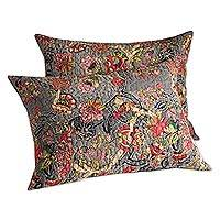 Quilted cotton pillow shams, 'Palace Garden' (pair) - Black and White Quilted Cotton Pillow Shams (Pair)