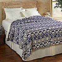 Cotton bedspread, 'Royal Ikat' (full/queen) - Blue and White Ikat Print Cotton Bedspread (Full/Queen)