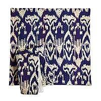 Cotton cushion covers, 'Royal Ikat' (pair) - Royal Blue and White Cotton Ikat Cushion Covers (Pair)