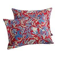 Cotton pillow shams, 'Jaipuri Garden' (pair) - Red and Blue Floral Print Cotton Pillow Shams (Pair)