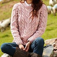 Wool sweater, 'Irish Rose' - Irish Rose Raglan Sweater