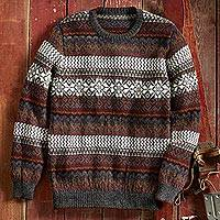 Men's 100% alpaca sweater, 'Inca Snowflake' - La Nieve Alpaca Sweater