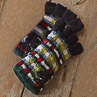 Fingerless wool gloves,