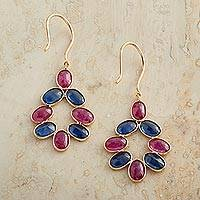 Gold ruby and sapphire dangle earrings, 'Imperial Grace' - 18k Gold, Ruby and Sapphire Dangle Earrings