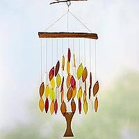 Teakwood and glass wind chime, 'Fall Tree of Life' - Tree of Life Fall Leaves Wood and Glass Wind Chime