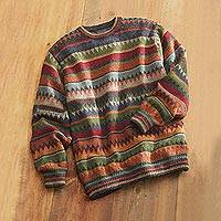Men's 100% alpaca sweater, 'Bolivian Highlands' - Bolivian Alpaca Sweater