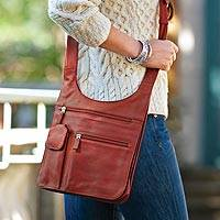 Leather shoulder bag, 'Life's Journey' - Convenient Leather Traveler Shoulder Bag