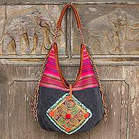 Leather accent cotton shoulder bag, 'Festive Karen Grey' - Hill Tribe Handwoven Embroidered Handbag with Leather Trim