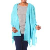 Wool shawl, 'Turquoise Allure' - Indian Fair Trade Woven Wool Shawl in Turquoise Blue