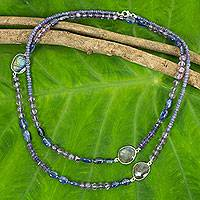 Iolite and kyanite beaded necklace, 'Lanna Mysteries' - Artisan Crafted Necklace with Iolite Kyanite Labradorite