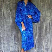 Rayon batik robe, 'Bamboo Blue' - Blue Rayon Long Robe with Bamboo Batik Print from Indonesia