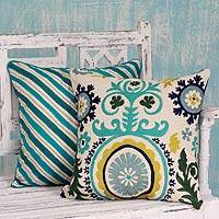 Embroidered cushion covers, 'Aqua Fusion' (pair) - Two Embroidered Cushion Covers in Aqua Tones from India