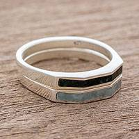 Jade stacking rings, 'Churumbelas' (pair) - Sterling Silver Stacking Rings Inlaid with Jade (Pair)