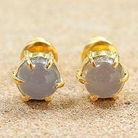 Gold plated moonstone stud earrings, 'Thai Buds' - Gold Plated Moonstone Stud Earrings from Thailand