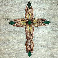 Steel wall art, 'Mission Cross Green' - Handcrafted Religious Steel Christian Cross Wall Sculpture