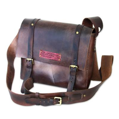Men's leather messenger bag, 'The Road to Success' - Handmade Brown Leather Messenger Bag