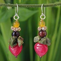 Quartz and unakite dangle earrings, 'Thai Heartbeat' - Beaded Quartz Multigem Earrings from Thailand