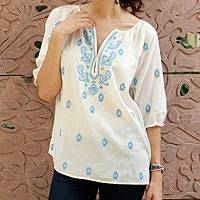 Cotton top, 'Majestic Blue' - Embroidered White Cotton Top
