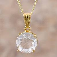 Gold plated quartz pendant necklace, 'Clear Reflections' - Gold Plated Sterling Silver Quartz Pendant Necklace Peru