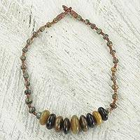 Horn pendant necklace, 'Sumpa Beads' - Hand Crafted Ghanaian Horn and Soapstone Beaded Necklace