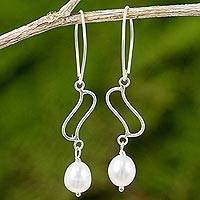 Cultured pearl and sterling silver dangle earrings, 'Whispering Breeze in White' - Artisan Crafted Cultured Pearl and Sterling Silver Earrings