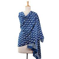 Cotton shawl, 'Indigo Rajasthan' - Hand Block Printed Indian Shawl Blue Cotton Wrap