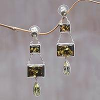 Amber and lemon quartz dangle earrings, 'Prosperity' - Amber and Lemon Quartz Silver Dangle Earrings