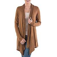 Cardigan sweater, 'Copper Waterfall Dream' - Long Sleeved Brown Cardigan Sweater from Peru
