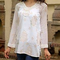 Beaded cotton tunic, 'Paisley Luxury' - Handcrafted Paisley Cotton Patterned Tunic Top
