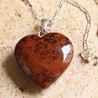 Mahogany obsidian heart necklace, 'Petal Heart' - Mahogany obsidian heart necklace