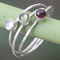 Multi-gemstone cocktail ring, 'Memorable Trio' - Balinese Garnet Peridot Rainbow Moonstone Multigem Ring