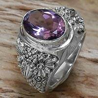 Amethyst single-stone ring, 'Worried Owl' - Sterling Silver Amethyst Single Stone Ring from Indonesia