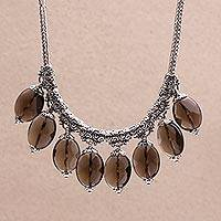 Smoky quartz pendant necklace, 'Java Palace' - Smoky Quartz Pendants on Ornate Sterling Silver Necklace