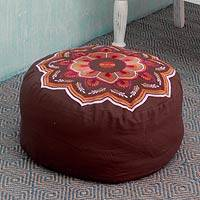 Embroidered cotton ottoman cover, 'Balodra Exuberance' - Rajasthan Embroidery on Cotton Ottoman Cover