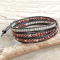 Jasper wrap bracelet, 'Hill Tribe Explorer' - Jasper and Silver on Artisan Crafted Leather Wrap Bracelet