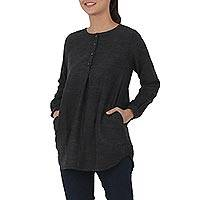 Cotton blouse, 'Charcoal Grace' - Artisan Crafted Grey 100% Cotton Blouse with Long Sleeves