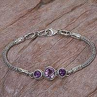 Amethyst pendant bracelet, 'Mystic Bamboo' - 925 Sterling Silver and Amethyst Engraved Bracelet from Bali