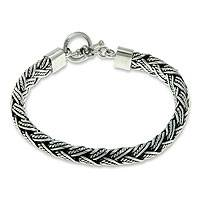 Men's sterling silver bracelet, 'Champion' - Men's Fair Trade Sterling Silver Chain Bracelet