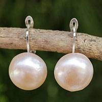 Cultured pearl drop earrings, 'Rosy Moon' - Peach-Hued Cultured Pearl and 925 Silver Drop Earrings