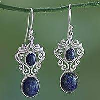 Lapis lazuli dangle earrings, 'Whimsical Tendrils' - Handcrafted Lapis Lazuli and Sterling Silver Dangle Earrings
